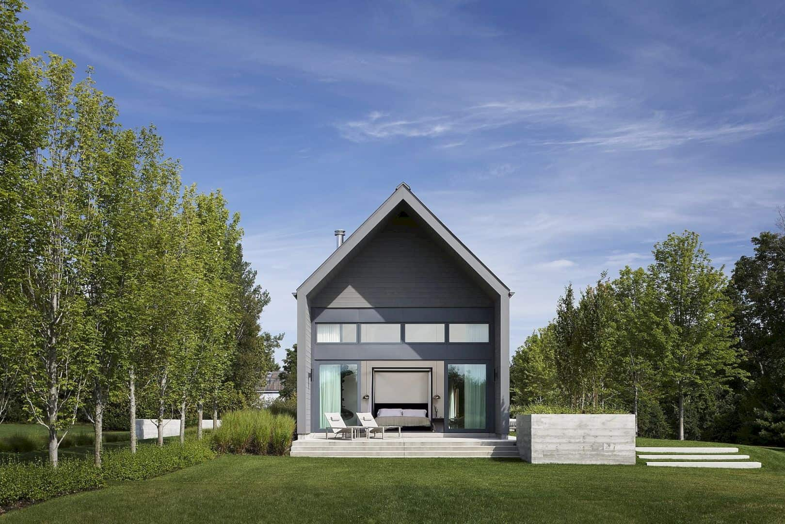 A home with modern and farmhouse architecture outside for Modern farmhouse architects