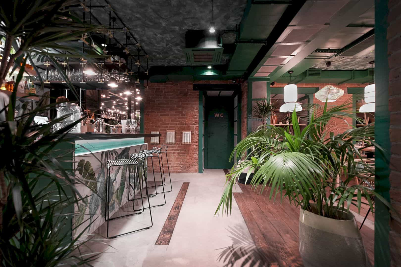 JUNGLE Cafe: Natural Interior Design of A Cafe with Greenery ... on natural house paint colors, natural lighting interiors, natural cabin interiors,
