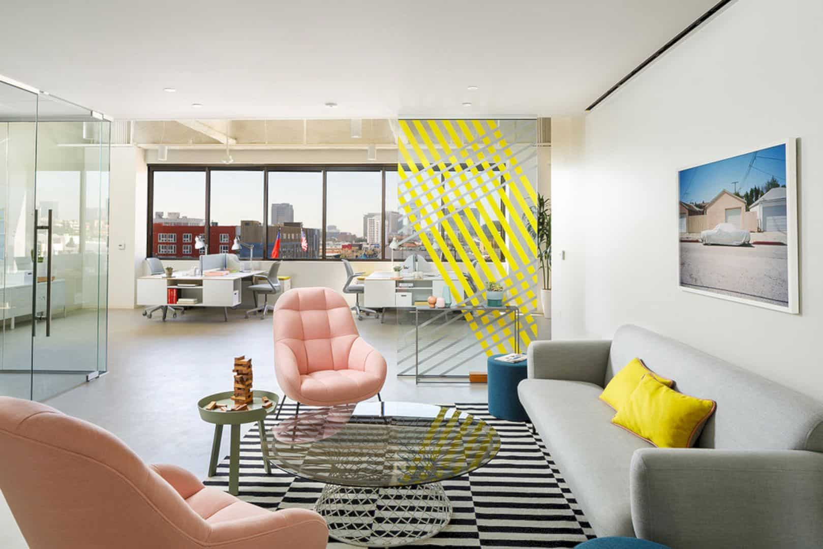 Pacshore Office: An Office Suite with Interesting Reflections from Color and Mirror